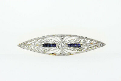Jewelry & Watches Beautiful Antique 14k Gold & Platinum .39ct Diamond & .45ct Sapphire Filigree Pin Brooch To Be Highly Praised And Appreciated By The Consuming Public Fine Pins & Brooches