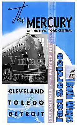 MAGNET TRAIN Post Card Photo Magnet Souvenir Ticket The MERCURY NY Central 1938