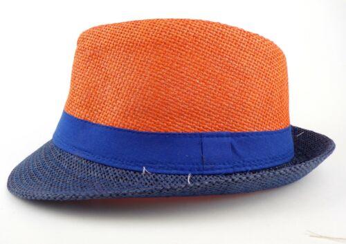 Trilby chapeau panama été Femmes Hommes bicolore chapeau de paille Taille 58 TRENDHUT