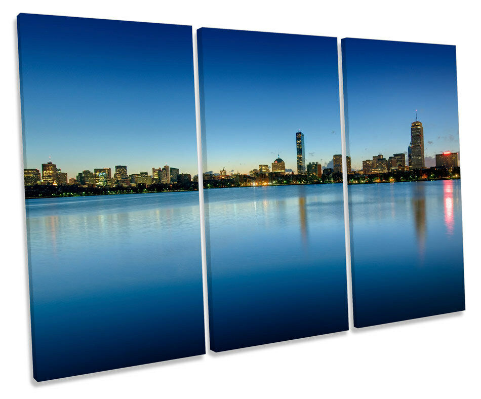 Boston City City City Skyline CANVAS WALL ART TREBLE Box Frame Print a48b33