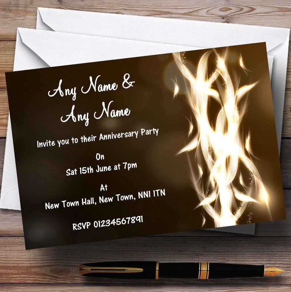 Marrón Feather Flame Aniversario de Boda Fiesta Personalizado Invitaciones
