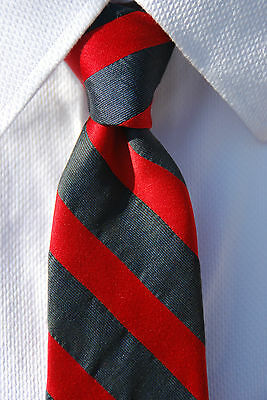 Gentleman's Vintage Red and Grey Diagonal Striped 100% All Silk Necktie - Italy!