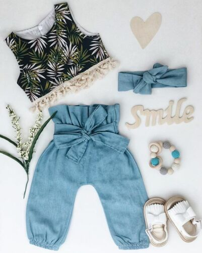 2019 Summer 3PCS Kid Baby Girl Tank Crop Top Vest+Bow Long Pants Clothes Outfits
