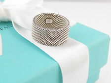 Tiffany & Co Silver Firm Mesh Ring Band Size 6.5 Box Included