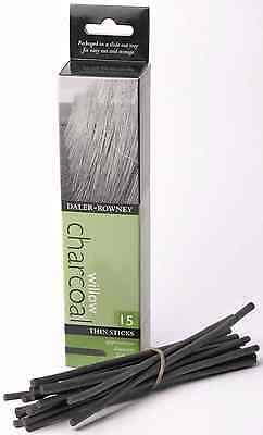 DALER ROWNEY NATURAL WILLOW CHARCOAL 15 THIN STICKS ARTIST SKETCHING DRAWING