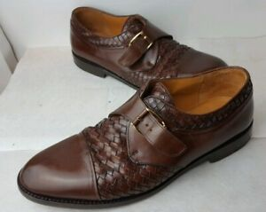 Mezlan-Monterey-Brown-Leather-Cap-Toe-woven-Monk-Strap-Dress-Shoes-Mens-8-W-EUC