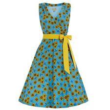 Lindy Bop Retro Vintage 50s Stephanie Blue Sunflower Swallow Swing Dress 22
