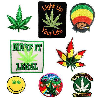 grün Aufnäher // Bügelbild Cannabis Marijuana Weed 9 x 8 cm