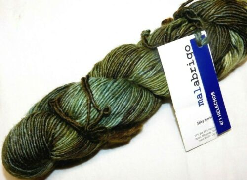 HELECHOS Painted Greens 150yd Skein Malabrigo SILKY MERINO Wool Silk LUXURY YARN