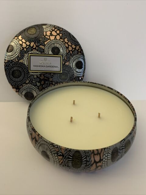 Voluspa Yashioka Gardenia 3 Wick Limited Edition Candle Decorative Tin 12 oz