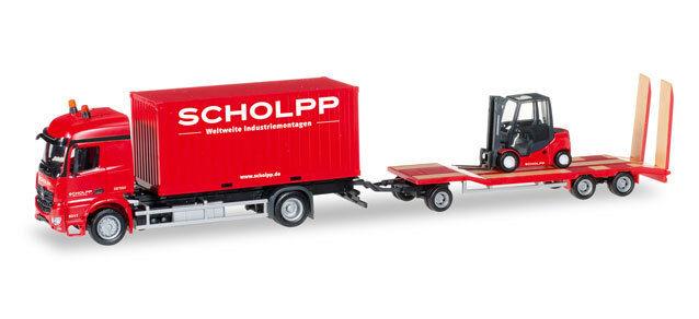 Herpa 306232 Mercedes-Benz Arocs Container-Camion M. tu3 + chariot élévateur Scholpp NEUF