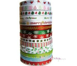 *rubans Imprimes Noel (les 14 Mètres) Embellissement Scrap Carte Couture*