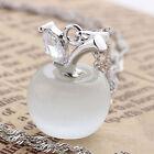 Opal White 925 Sterling Silver Apple Cat Eye Stone CZ Pendant Wedding