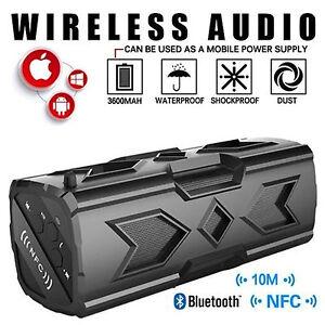 BLACK-Waterproof-Stereo-Wireless-Bluetooth-3600mAh-Power-Bank-OUTDOOR-SPEAKER