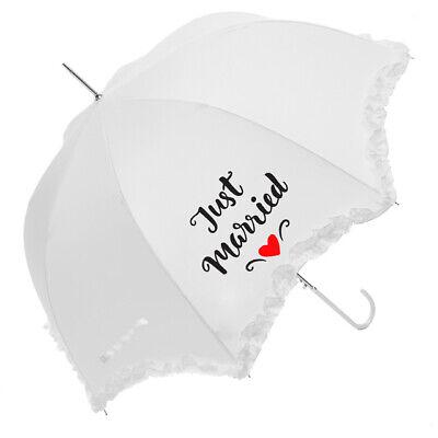 Accurato Novelli Sposi Bianco Matrimonio Frilly Ombrello 92cm-mostra Il Titolo Originale