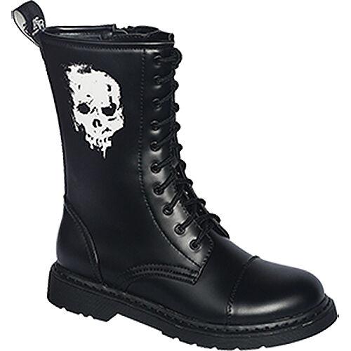 Knightbridge-Gothic Stiefel Dark-Creationz RZ-SK Totenkopf Boots Schuhe 37-46