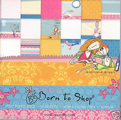 "Papermania 8 x 8"" scrapbooking 36 sheets paper Born to Shop nostalgic designs"