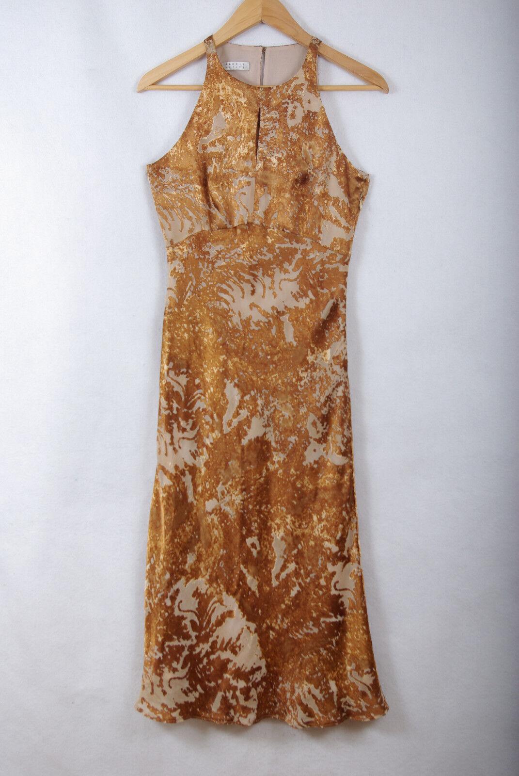 L218 73 Precis Petite gold Silk Blend Evening KeyHole Sexy Dress, size 8