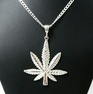 Large-2-3-4-034-Genuine-Solid-925-Sterling-Silver-Cannabis-Leaf-Marijuana-Pendant