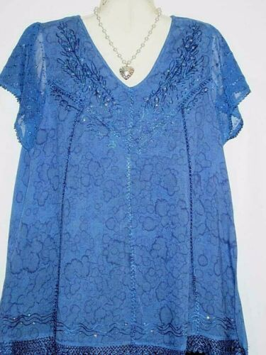 Womens Top Blouse Tunic Blue Sequins Dressy Plus Size Fits 1X 2X