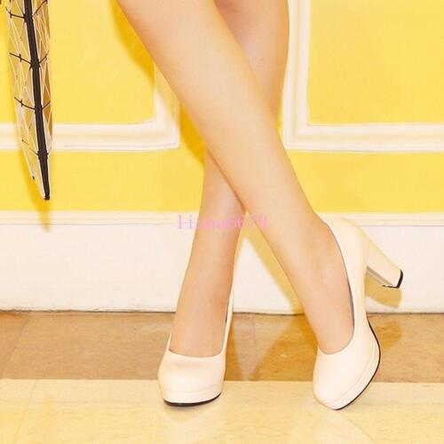 Cute Womens High Block Heel Candy color Slip On Pumps Party Prom Round Toe Shoes