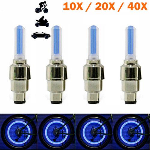 10-40X Blue LED Tyre Wheel Valve Cap Lights Waterproof Car Bicycle Motorcycle ST