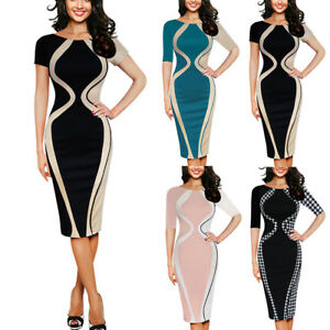 Womens-Sexy-O-Neck-Bodycon-Short-Sleeve-Party-Business-Style-Pencil-Mini-Dress