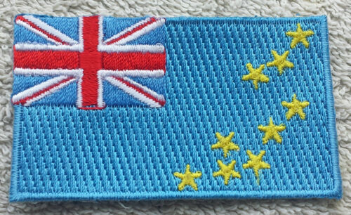 TUVALU FLAG PATCH Embroidered Badge Iron Sew 3.8 x 6cm Ellice Islands Polynesian