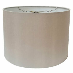 Image Is Loading Shallow Drum Hardback Lamp Shade With Nickel Plated