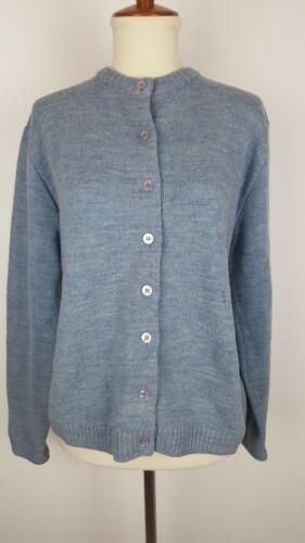 RARE VTG 50s BARRY ASHLEY Womens Wool Blue Cardiga