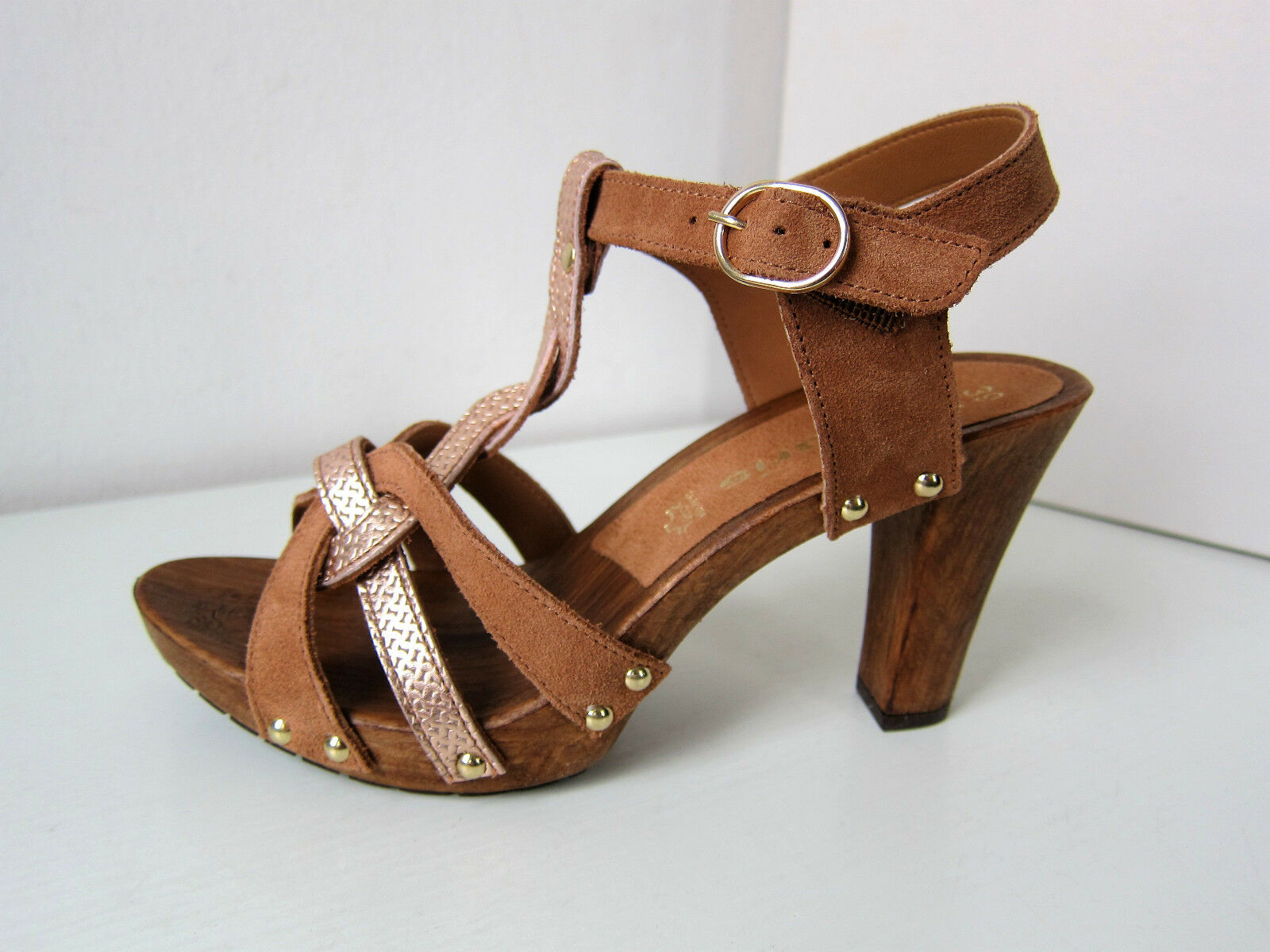 Tamaris Sandale Sandalette braun Gr. 36 cuoio Rosa Gold RosaGold Glitzer Plateau