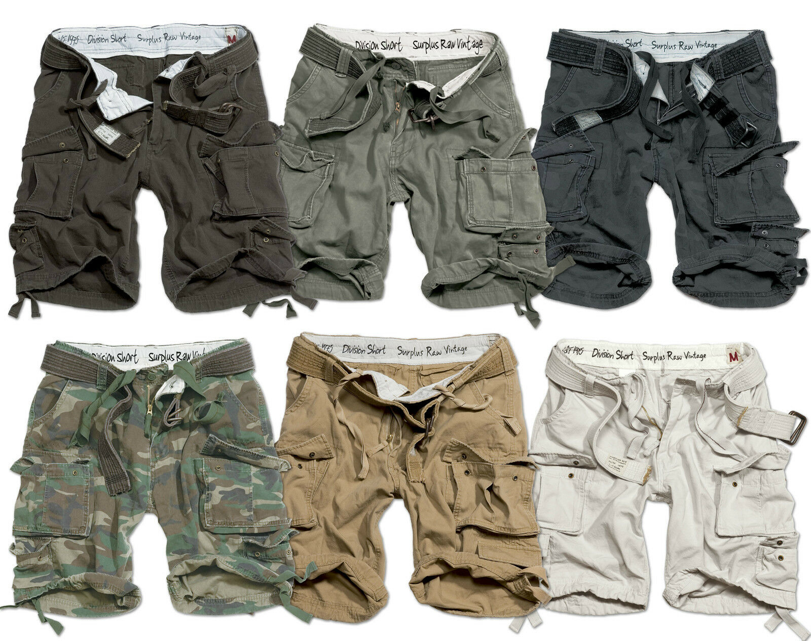 SURPLUS ARMY MENS DIVISION CARGO SHORTS COMBAT ARMY KNEE LENGTH & DELUXE BELT