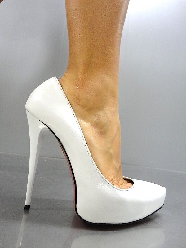 Descuento barato MORI ITALY PLATFORM HIGH HEELS PUMPS SCHUHE SHOES REAL LEATHER WHITE BIANCO 41