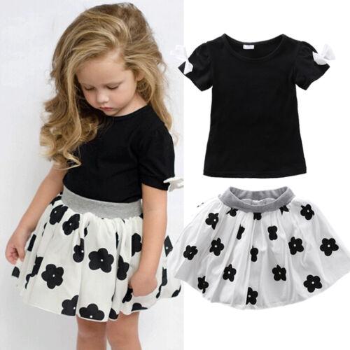 Toddler Baby Girl Outfits Clothes T-shirt Top Tutu Dress Skirt Party Princess