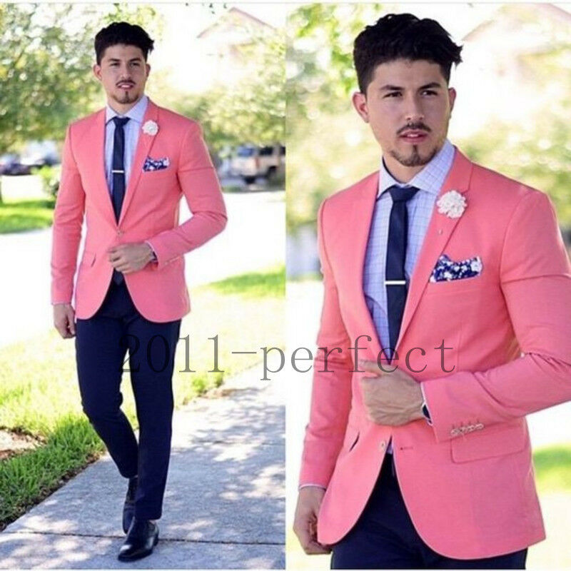 Men\'s Slim Pink Wedding Suits Groom Tuxedos Groomsmen Formal Suit ...