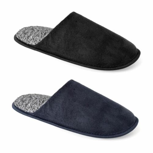 Mens Polysuede Two Tone Mule Slippers Sizes 7-12 Fleece Lined Winter Warm