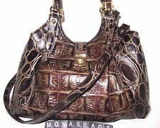 Brahmin New Elisa Orinoco Elisa Espresso Embossed Leather Satchel Bag NWT $395