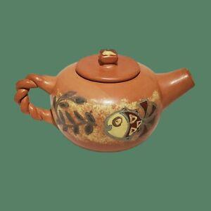 Vintage-Seminario-Urubamba-Cusco-Peru-Pottery-Teapot-Clay-Terracotta-Fish-MINT