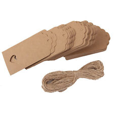100pcs Kraft Paper Card Hand Draw Gift Label Tags Heart Hollow Notes Brown