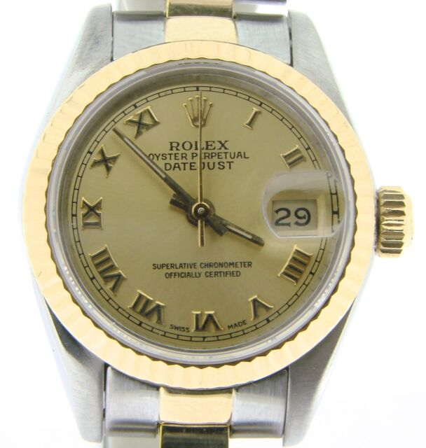 Rolex Datejust Ladies 2Tone 18K & Stainless Steel Watch Gold Roman Dial 69173