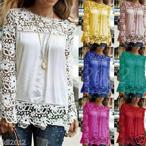 Plus-Size-S-5XL-Womens-Long-Sleeve-Shirt-Casual-Lace-Blouse-Loose-Tops-T-Shirt