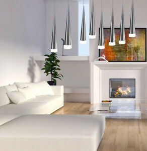 Details About New Led Hanging Lights Modern Contemporary Ceiling Fixtures Drop Lighting Silver