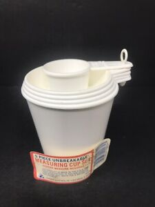 Vintage-Arrow-Plastic-Measuring-Cups-Set-of-5-White-1-4-To-1-Cup-And-2-Tbsp-GUC