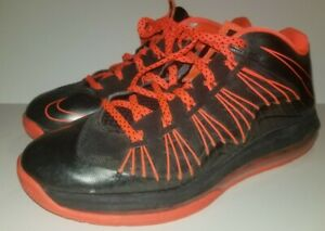 competitive price 3d461 f5a33 Image is loading Nike-Air-Max-Lebron-X-10-Low-Black-