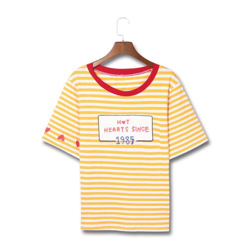 x1 T-shirt Herz M//L Gestreift Buchstaben Damenmode Mehrfarbig Sommer Kurzarm Süß