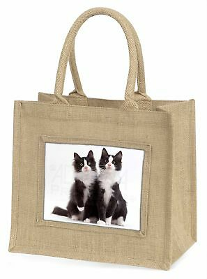 zwei schwarz und weiß Katzen Große natürliche jute-einkaufstasche weihnachten-gi