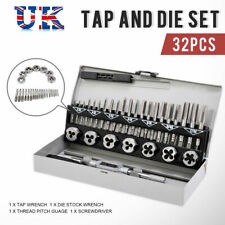 32PC Engineer Metric Wrench Tap and Die Set Tape Plug Bottoming M3-M12 In Metal