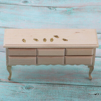 10/102 Dollhouse Miniature 10-Drawers Table Unpainted Furniture DIY  Accessories  eBay