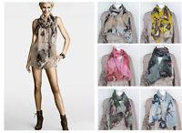 Fashion Women Lady Begonia Flower Ink Style Shawl Neck Scarf Long Cotton Stole K