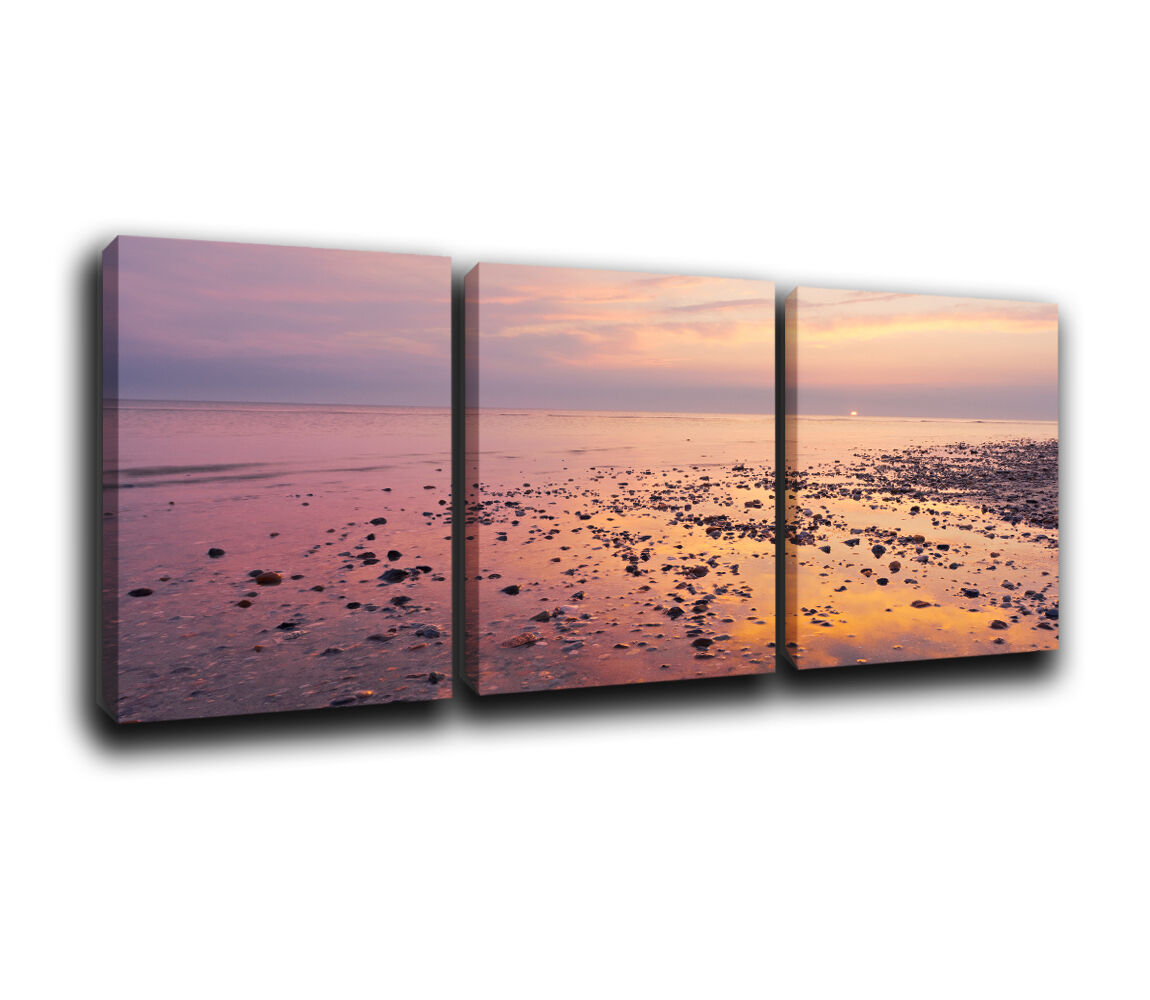 Seascape  Sunset Landscape Canvas Wall Art Print treble box framed Picture 3